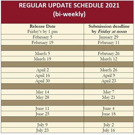 Regular Update Schedule 2021