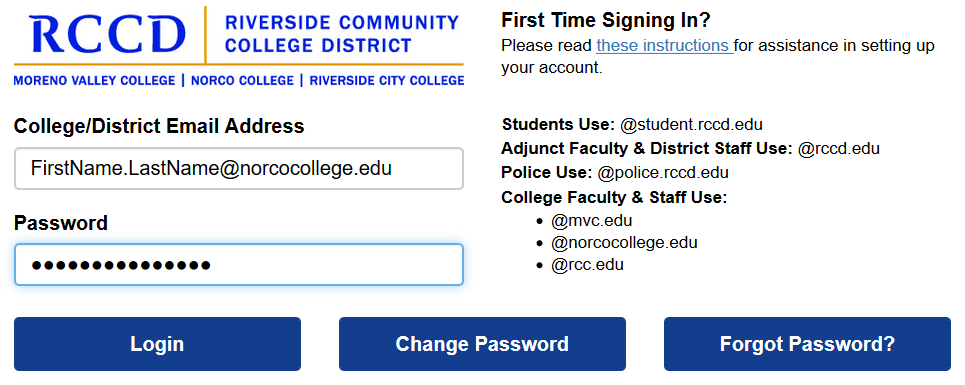 RCCD Single Sign On Portal Sign-In Screen